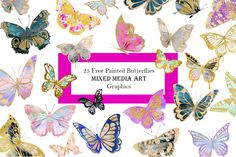 Free Painted Butterflies Clipart - Free Pretty Things For You Butterfly Clip Art, Butterfly Images, Mixed Media Painting, Mixed Media Art, Cricut Svg Files Free, Free Photoshop, Vintage Roses, Vintage Clip, Media Images