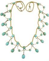"Victorian circa 1880 - Grand era   10k YG fringe style necklace set with turquoise. 16"" length.    Turquoise=18.25tcw"