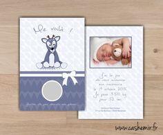 Faire-part naissance bébé original à gratter n°2 biche : Faire-part par cashemir