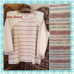 NWT Lucky Terry Top Excellent light weight terry top. Colors of cream, light blue, and red. Lucky Brand Tops Sweatshirts & Hoodies