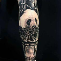 101 Amazing Panda Tattoo Ideas You Need To See! Tatto Panda, Panda Bear Tattoos, Animal Tattoos, Black Ink Tattoos, Small Tattoos, Cool Tattoos, Image Panda, Japanese Hand Tattoos, Panda Drawing
