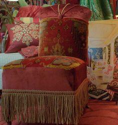 Upcycled Vintage recouvert de tissu chaise Style Bohème en