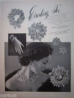 1952 Vintage Eisenberg Ice Rhinestone Glitter Pin Brooch Jewelry Ad | eBay