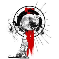 An amazing trash polka tattoo design of a wolf howling at the Moon. Style: Trash Polka. Color: Red. Tags: Best, Amazing