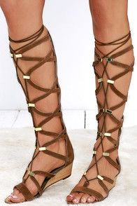 """A true changeling, the Report Monterie Tan Suede Leather Tall Gladiator Wedges go from city to festival-chic with no effort at all! Long laces weave through genuine suede straps with shiny gold hardware. 15"""""""" zippered shaft. #CuteDresses #TrendyTops, #FashionShoes #JuniorsClothing"""