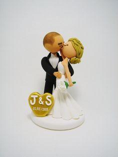 Kissing couple custom wedding cake topper