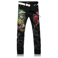 20f444c15c New 2016 Men`s Printed Jeans Punk Style Gothic Painted Cotton Straight Leg  Cool Jeans