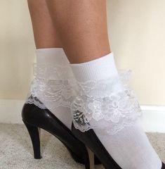 Women's lacy ankle socks short boot socks by LoveliesByMichelle Frilly Socks, Lace Socks, Boot Socks, Ankle Socks, Sexy Socks, Socks And Heels, Wedding Socks, Lace Wedding, Fashion Forms