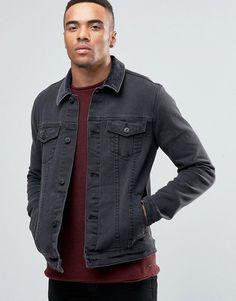 Image 1 - ASOS - Veste skinny en jean avec col en velours côtelé - Noir