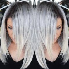 Stunning Multidimensional Silver hair color design with dark shadow root by Brittnie Garcia hotonbeauty.com by adele
