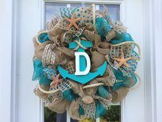 Summer deco mesh wreath,burlap nautical wreath, beach wreath,front door beach wreath, nautical wreath by ShellysChicDesigns on Etsy https://www.etsy.com/listing/221446172/summer-deco-mesh-wreathburlap-nautical