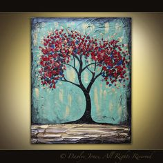 Red Tree original acrylic painting on canvas by danlyespaintings, $74.99