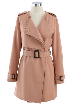 Chiffon Belted Trench Coat in Pink.