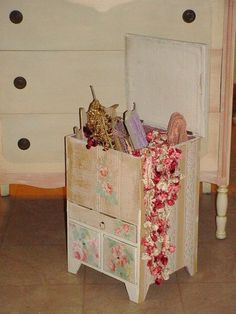 Vintage Wallpaper Covered Sewing Cabinet Box 1930s Small Dresser $95