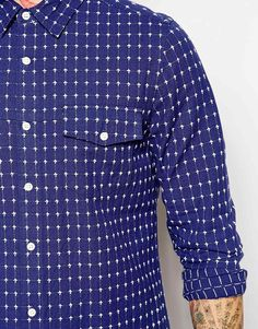 Image 3 of ASOS Shirt In Long Sleeve With Dobby Grid Check
