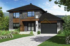 Modern Entry, Modern Exterior, Exterior Design, Bungalow, 2 Storey House Design, Prairie Style Houses, Home Exterior Makeover, Archi Design, Basement House