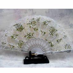 A Lot of 3 White Lace Gold Rosette Wedding Bridal Ball Hand Fan Fans  SKU-11213084