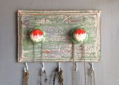 Jewelry Necklace Holder-Small Hanging-Upcycled by PippinPost