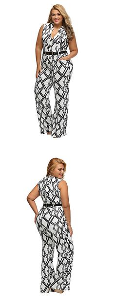 Chic casual sleeveless geometric print V neck plus size jumpsuit. Show your beautiful curves at just $23.99