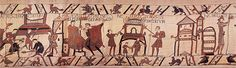 Invasion fleet of Duke William of Normandy on Bayeux Tapestry File:Bayeux préparatifs.jpg (via Wikimedia Commons)