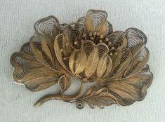 Изысканный старинный викторианский позолоты серебряный филигранный цветок брошь заколка большие   Украшения и часы, Винтажные и антикварные украшения, Драгоценные украшения   eBay!