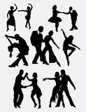 Tango salsa 2 male and female dancer silhouette. Good use for symbol, web icon, logo, mascot, sticker, or any design you want. Easy to use.