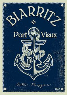 © Marcel Biarritz PORT VIEUX www.marcel-biarritz.com Poster Vintage, Vintage Travel Posters, Deco Surf, Surf Design, Tourism Poster, Ville France, Decoupage, Biarritz, Basque Country