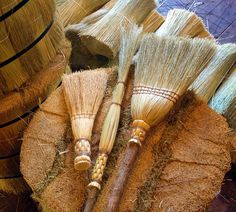 Spring Cleaning Brooms Set in All Natural Broom Corn - Kitchen Broom, Whisk & Cobweb Broom Deep Cleaning Tips, Cleaning Hacks, Cleaning Products, Broom Corn, Whisk Broom, Clean Baking Pans, Clean Sweep, Hard Water Stains, Cleaning Painted Walls