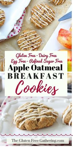 Gluten Free Apple Oatmeal Breakfast Cookies – Egg & Dairy Free with Refined Sugar Free Option – The Gluten Free Gathering - Cookies for breakfast? I say yes to these healthy and easy breakfast treats. The perfect grab and go recipe that is nutritious an Sugar Free Breakfast, Oatmeal Breakfast Cookies, Apple Breakfast, Breakfast Bake, Breakfast Pancakes, Breakfast Healthy, Dairy Free Recipes For Breakfast, Breakfast Ideas, Pancakes Easy