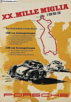 1953 XX Mille Migliia VW / Porsche Rally Poster