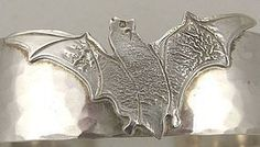 BAT! Cheerful Sterling Flying Bat Cuff Bracelet