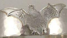 BAT! Cheerful Sterling Flying Bat Cuff Bracelet
