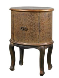 Ascencion, Accent Table by Uttermost. $261.80. Approx. 28-56 Days. 135. 1. USA. Ascencion, Accent Table Uttermost Item 24241 Product Description: Enclosed storage case features textured cloth stretched over embossed wood with copper metallic highlights and a rust brown wash accented by Jacobean stained, distressed hardwood legs. Designer: Grace Feyock Suggested Retail Price: $357.00 Dimensions (inches):24 W X 24 H X 17 D Weight (lbs): 30 Ship Via UPS: Yes UPC ...