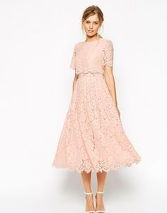 Enlarge ASOS SALON Lace Crop Top Midi Prom Dress