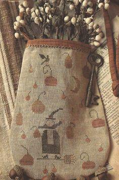 Primitive Folk Art Cross Stitch Pattern:  WITCH PUMPKIN Fall Cross Stitch, Cross Stitch Finishing, Cross Stitch Samplers, Cross Stitching, Cross Stitch Embroidery, Cross Stitch Patterns, Primitive Stitchery, Primitive Patterns, Primitive Folk Art