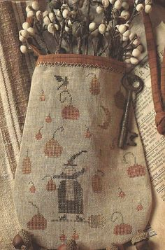 Primitive Folk Art Cross Stitch Pattern: WITCH PUMPKIN
