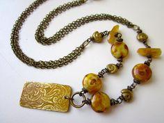 Midas - golden saffron yellow patina brass sheet, dirty gold Czech glass beads, yellow heliodor nugget, & ancient solid brass necklace by LoveRoot, $35.00
