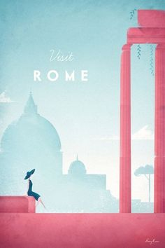 Vintage Rome Travel Poster by Henry Rivers | Prints of this illustration available from Travel Poster Co. #vintagetravelposters #Rome
