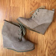 Taupe Suede Boot Wedges Barely worn. Shoes