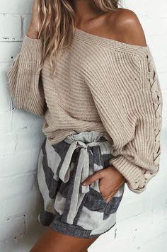 #summer #outfits  Beige One Shoulder Knit + Monochrome Striped Short 🙈💋