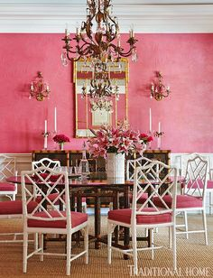 Hydrangea Hill Cottage: Robin Weiss - coral pink walls, bamboo chippendale chairs with pink seats Bamboo Furniture, Dining Furniture, Bamboo Chairs, Furniture Design, Dining Chairs, Furniture Ideas, Oriental Furniture, Dining Decor, Dinning Table