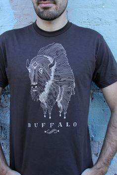 Buffalo Tee - Mens Brown. $20.00, via Etsy.