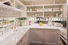 mirrored tiles, large pantry