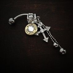 Bullet Jewelry by JECTZ® - Dangle Cross Belly Bullet Ring, $24.95 (http://www.jectz.com/dangle-cross-belly-bullet-ring/)