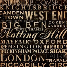 London Streets and Places typgography graphic art by geministudio, $80.00