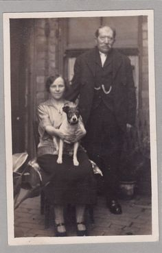 Vintage RPPC - Lady Holding Pet Jack Russell Dog - Man With Fob Watch - Chien