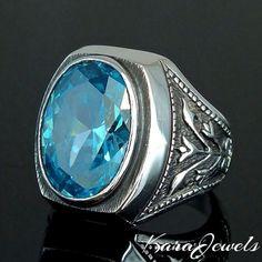 Mens Ring 925 Sterling Silver genuine Blue Topaz unique jewelry free resizing #KaraJewels #ArtisanJewelry