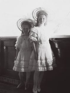 """Grand Duchesses Maria and Anastasia, youngest daughters of the last Tsar, in 1908"""