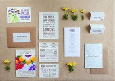 Watercolor Letterpress Wedding Invitations | The Goodness