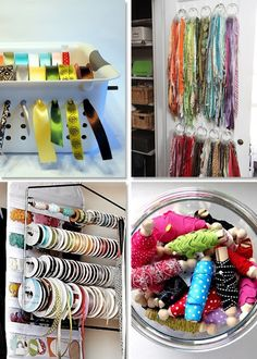 Ribbon/trim storage....and having lots of ribbon trim on hand...I always check out Goodwill, Value Village, and other local thrift stores.